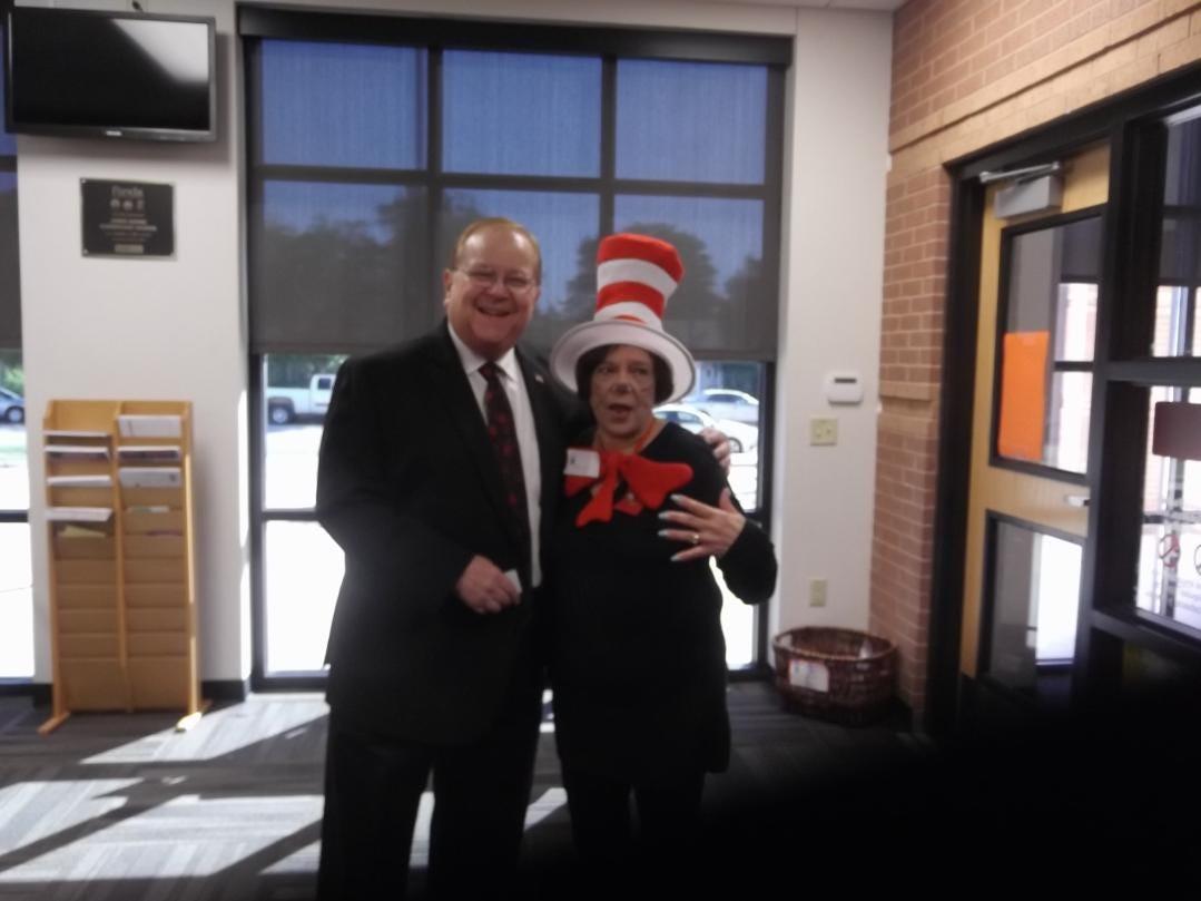 KTAB host Bob Bartlett and Altrusan Barbara Pollack meet for the Altrusa International of Abilene project at Bowie Elementary School.