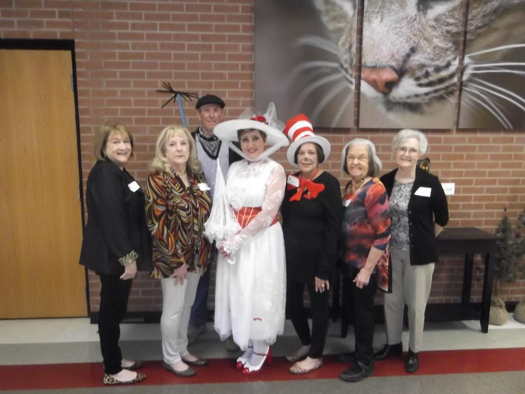 """Altrusa International of Abilene recently presented its Make A Difference Project, """"The Reading Rodeo,"""" at Bowie Elementary School. Front row, from left: Altrusans Jan Haas and Happy Collins, Principal Tina Jones and Altrusans Barbara Pollack, Ruth Thompson and Jan Klassen. Back row: Assistant Principal David Hutton."""