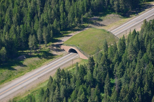 This wildlife overpass on U.S. 93 on the Flathead Indian Reservation in Montana, allows large mammals such as deer, elk and bears to safely cross the highway. It is an example of highway design ideas being considered on I-40 in the Pigeon River Gorge between North Carolina and Tennessee.