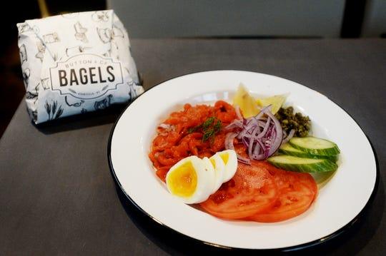 Button & Co. Bagels' classic gravlax plate.