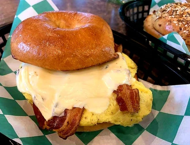 A Benton's bacon, egg and house-made bagel at Ziggy's.