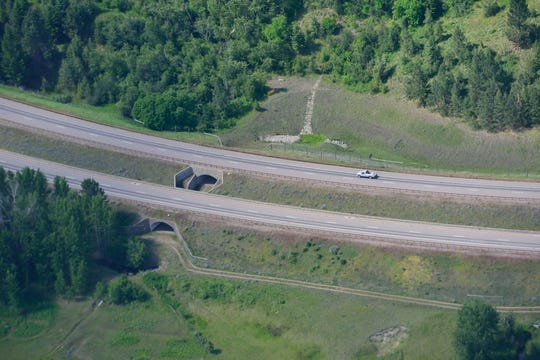 The wildlife underpass with an opening in median allows animals to safely cross U.S. 93 on the Flathead Indian Reservation in Montana.