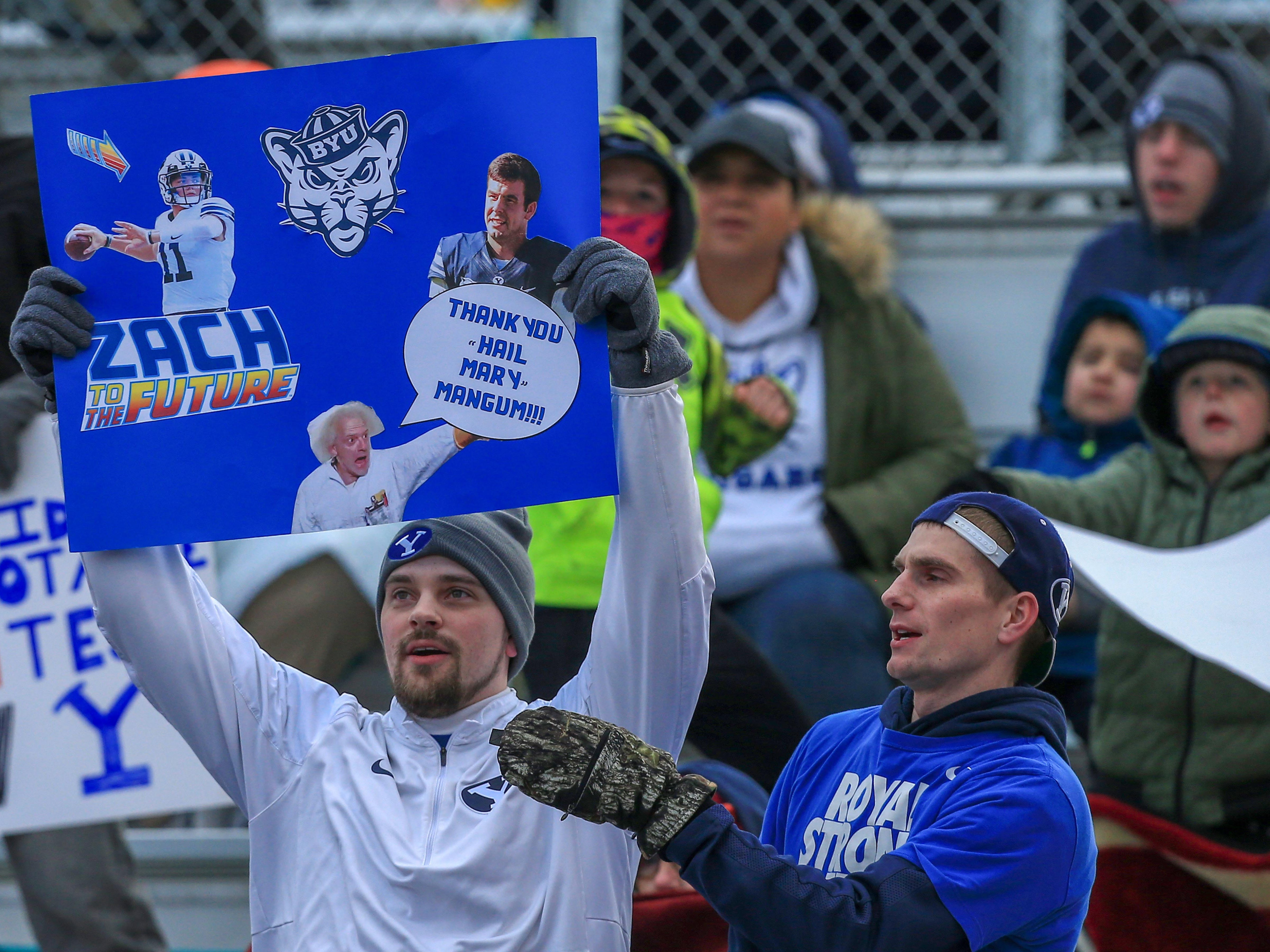 Dec 21, 2018; Boise, ID, United States; Brigham Young Cougars fans  during the first half  of play against the Western Michigan Broncos at the 2018 Potato Bowl at Albertsons Stadium.