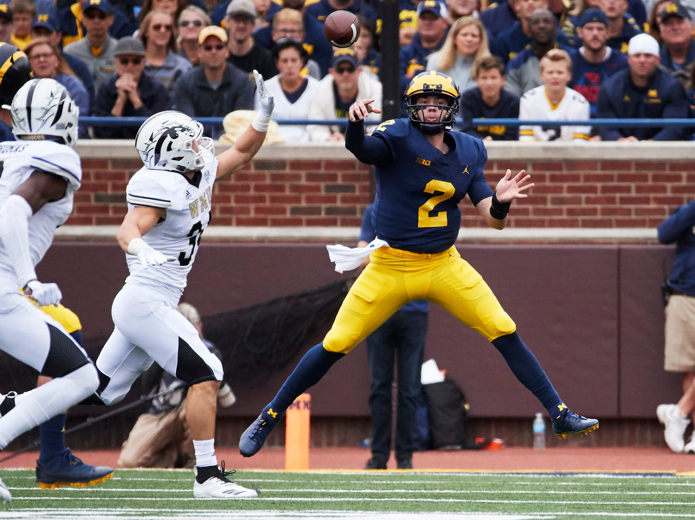 Sep 8, 2018; Ann Arbor, MI, USA; Michigan Wolverines quarterback Shea Patterson (2) throws a pass in the first half against the Western Michigan Broncos at Michigan Stadium. Mandatory Credit: Rick Osentoski-USA TODAY Sports