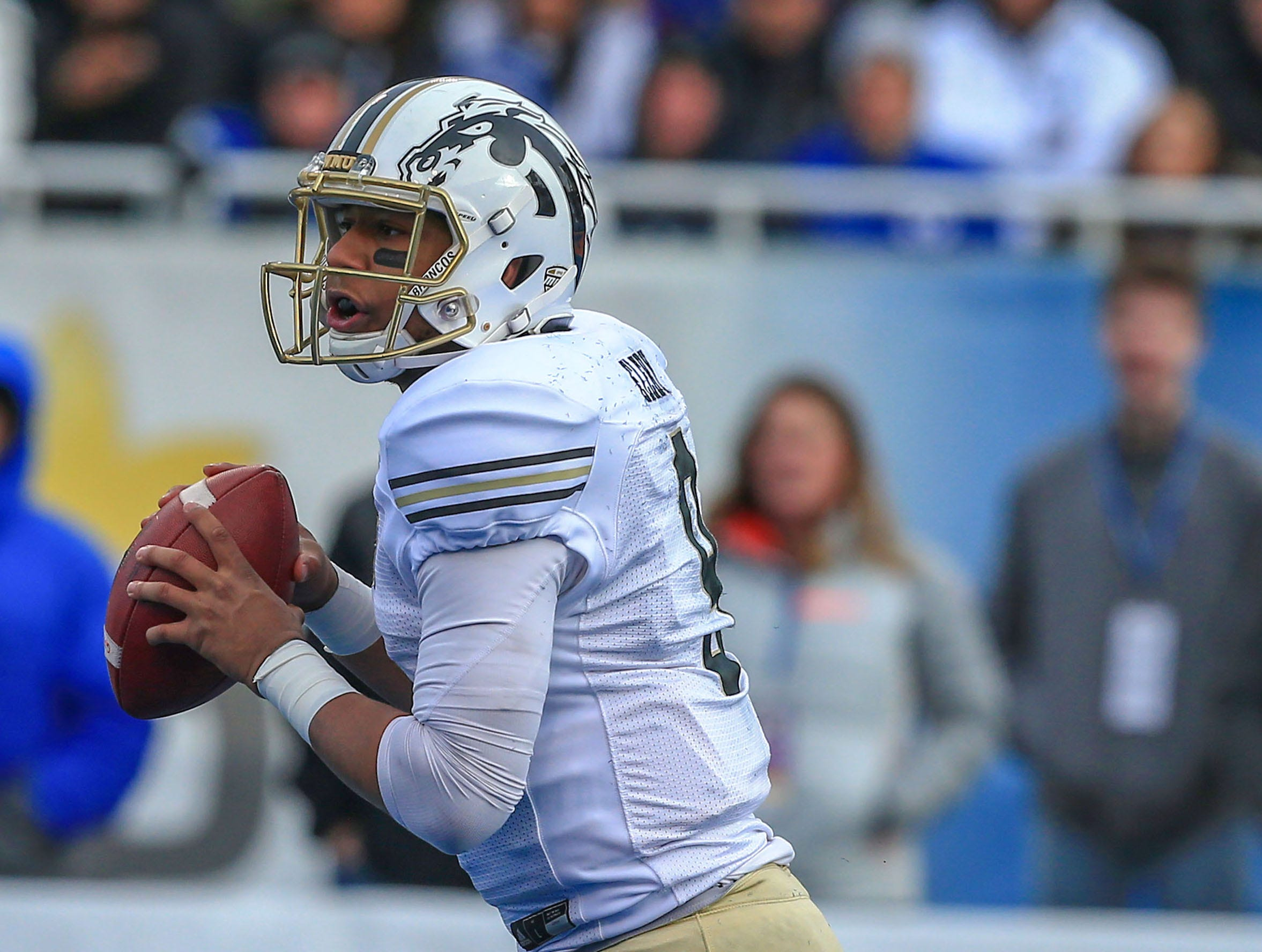 Dec 21, 2018; Boise, ID, United States; Western Michigan Broncos quarterback Kaleb Eleby (9) during the first half against the Brigham Young Cougars during the  2018 Potato Bowl at Albertsons Stadium. Mandatory Credit: Brian Losness-USA TODAY Sports