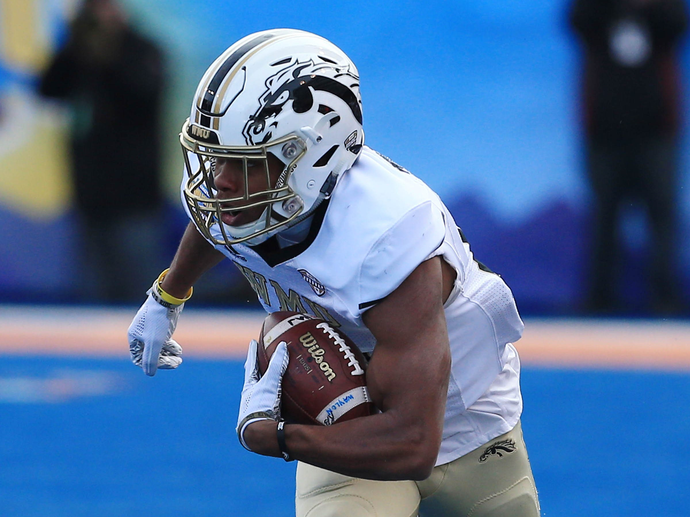 Dec 21, 2018; Boise, ID, United States; Western Michigan Broncos wide receiver Drake Harris (6) during the first half against the Brigham Young Cougars during the  2018 Potato Bowl at Albertsons Stadium.