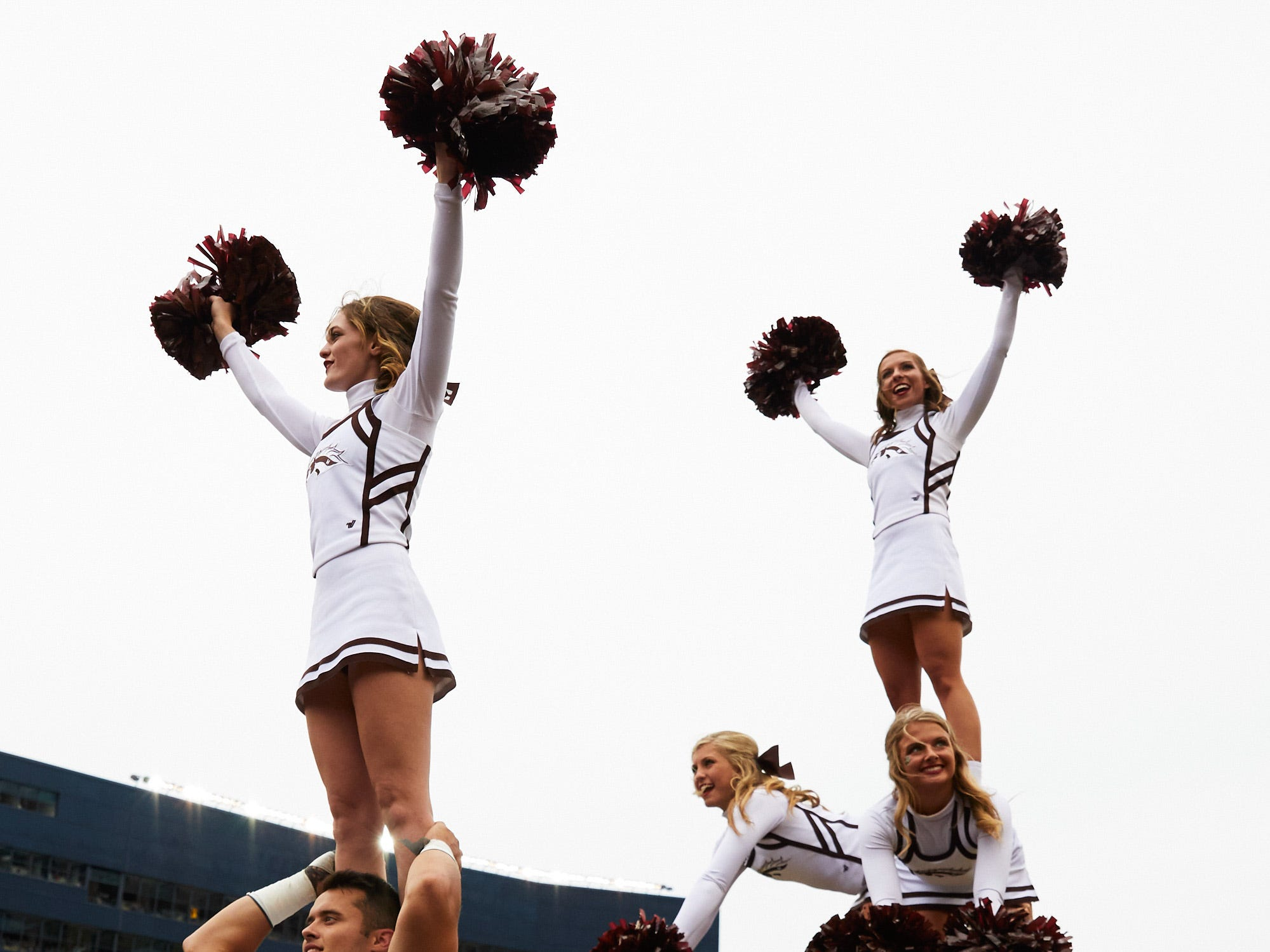 Sep 8, 2018; Ann Arbor, MI, USA; Western Michigan Broncos cheerleaders on the sideline during the second half against the Michigan Wolverines at Michigan Stadium. Mandatory Credit: Rick Osentoski-USA TODAY Sports