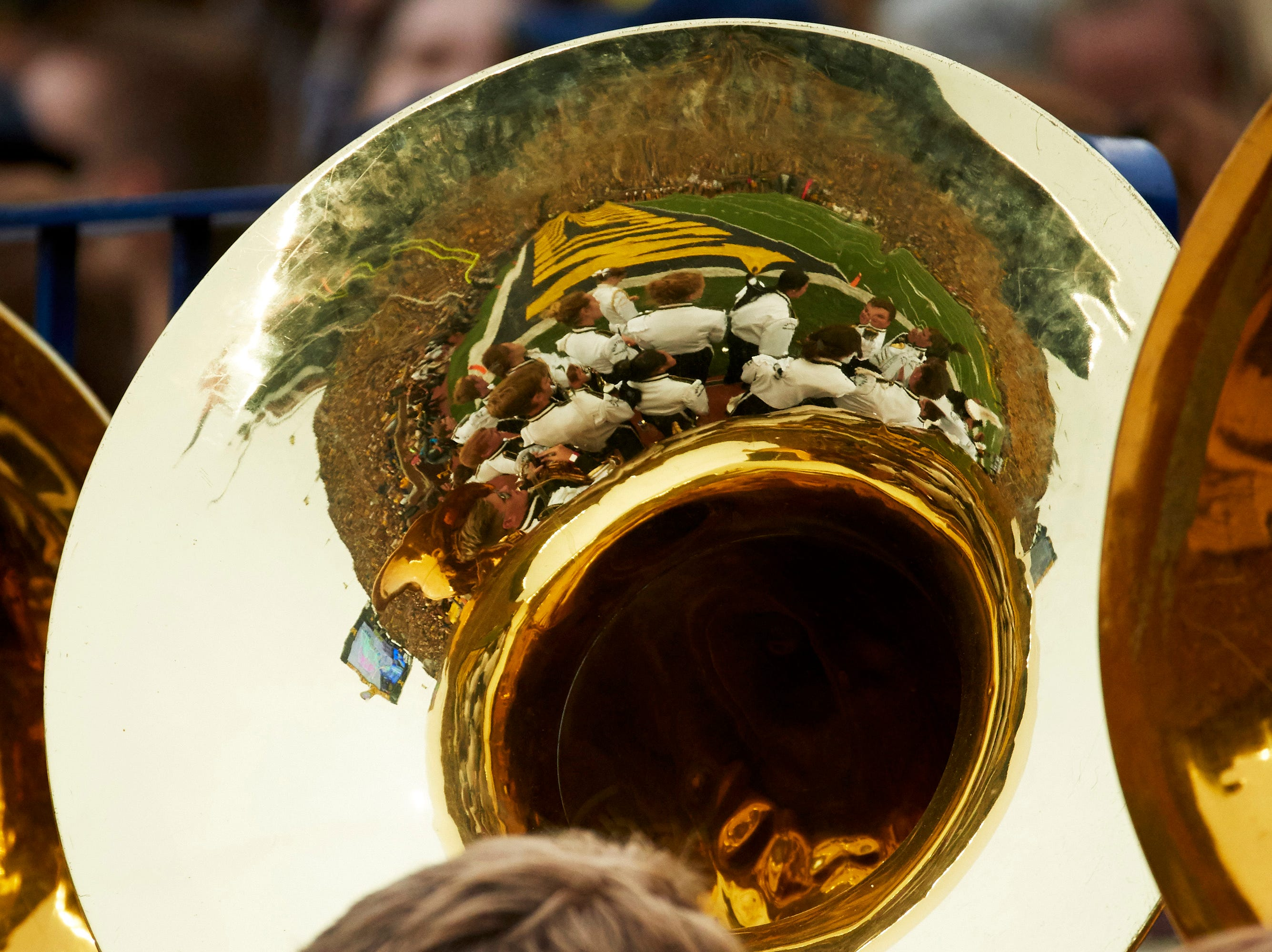 Sep 8, 2018; Ann Arbor, MI, USA; The Western Michigan Broncos band is reflected in a tuba bell on the sideline during a game against the Michigan Wolverines at Michigan Stadium. Mandatory Credit: Rick Osentoski-USA TODAY Sports
