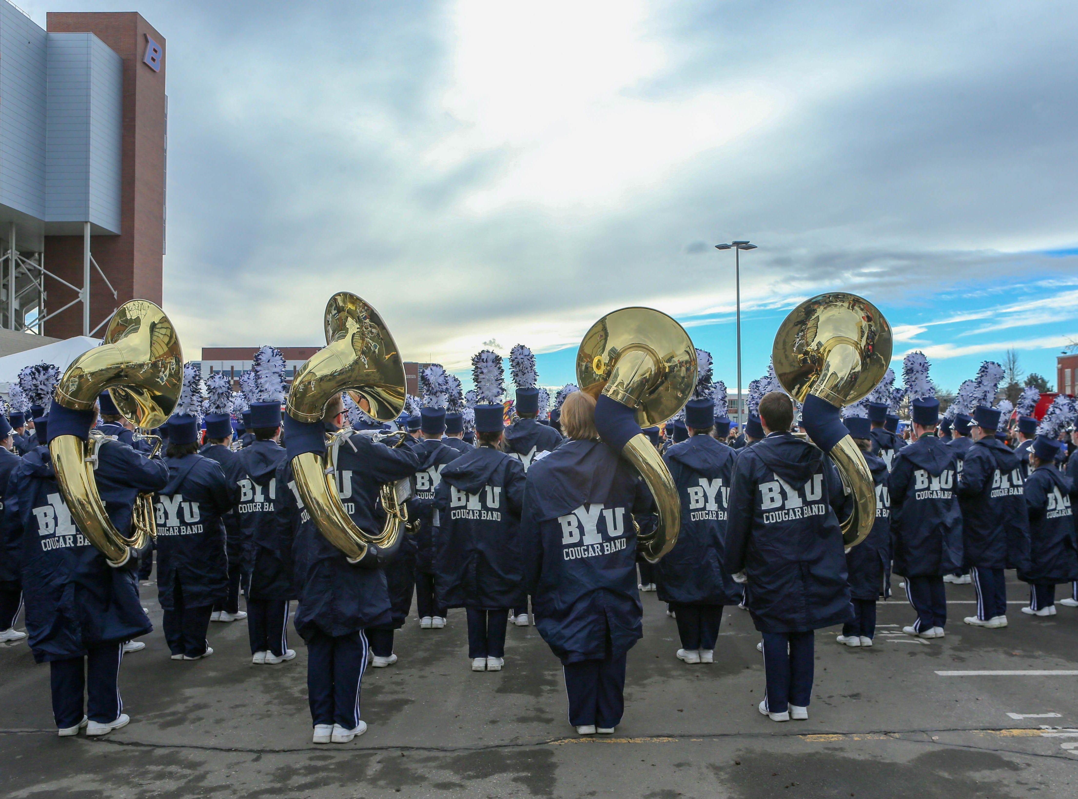 Dec 21, 2018; Boise, ID, United States; BYU Cougars marching band performs during a battle of the bands prior to the  2018 Potato Bowl against the Western Michigan Broncos at Albertsons Stadium. Mandatory Credit: Brian Losness-USA TODAY Sports