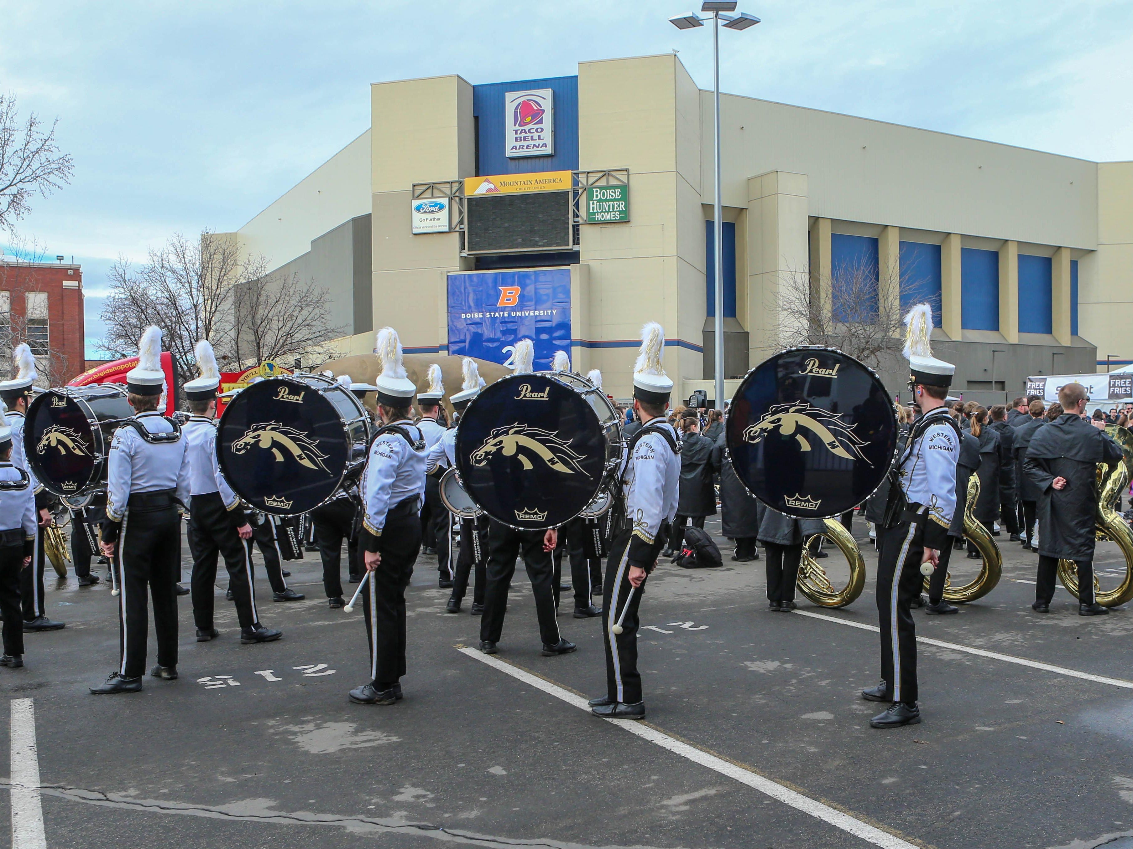 Dec 21, 2018; Boise, ID, United States; Western Michigan marching band during a battle of the bands before the  2018 Potato Bowl against the BYU Cougars at Albertsons Stadium.