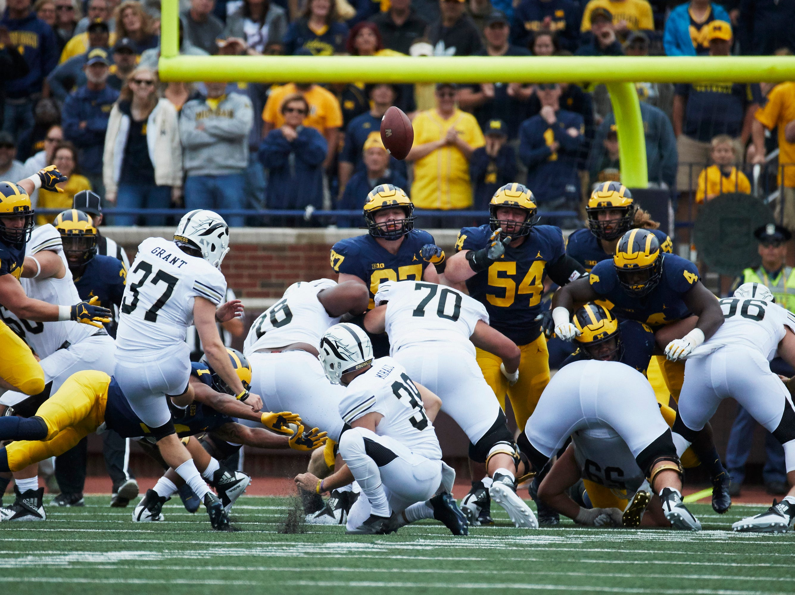 Sep 8, 2018; Ann Arbor, MI, USA; Western Michigan Broncos place kicker Josh Grant (37) kicks a field goal in the second half against the Michigan Wolverines at Michigan Stadium. Mandatory Credit: Rick Osentoski-USA TODAY Sports