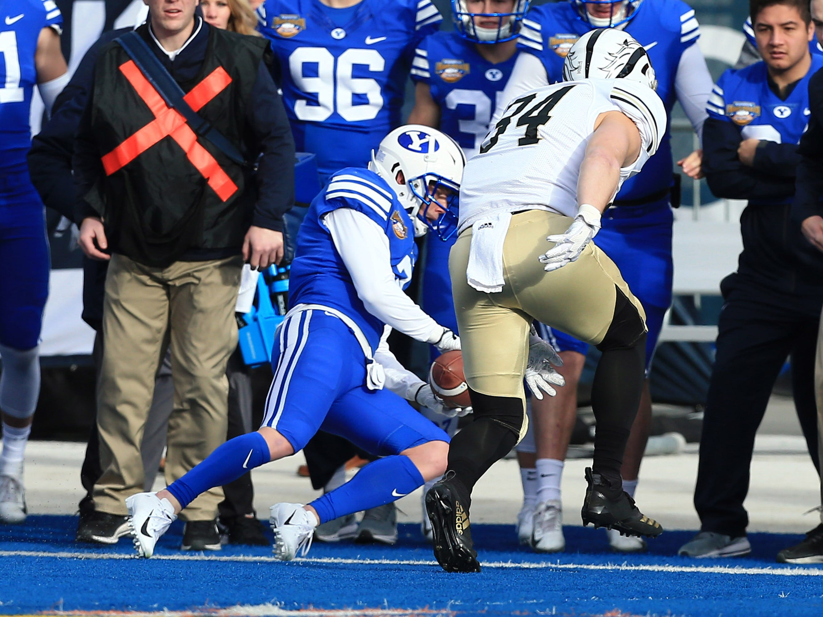 Dec 21, 2018; Boise, ID, United States; Brigham Young Cougars wide receiver Dylan Collie (3) catches a pass during the first half  of play versus the Western Michigan Broncos at the 2018 Potato Bowl at Albertsons Stadium.
