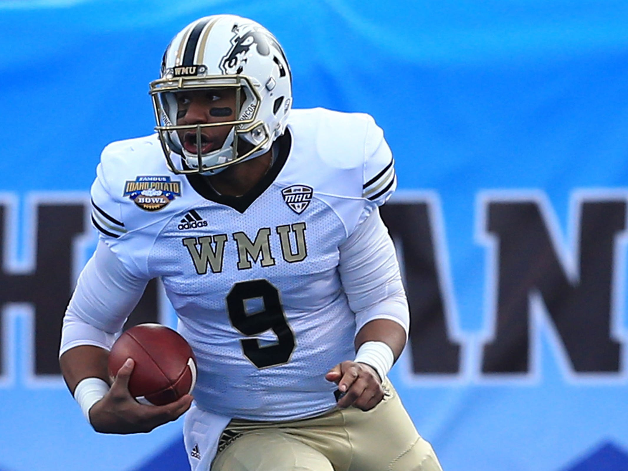 Dec 21, 2018; Boise, ID, United States; Western Michigan Broncos quarterback Kaleb Eleby (9) during the first half against the Brigham Young Cougars during the  2018 Potato Bowl at Albertsons Stadium.