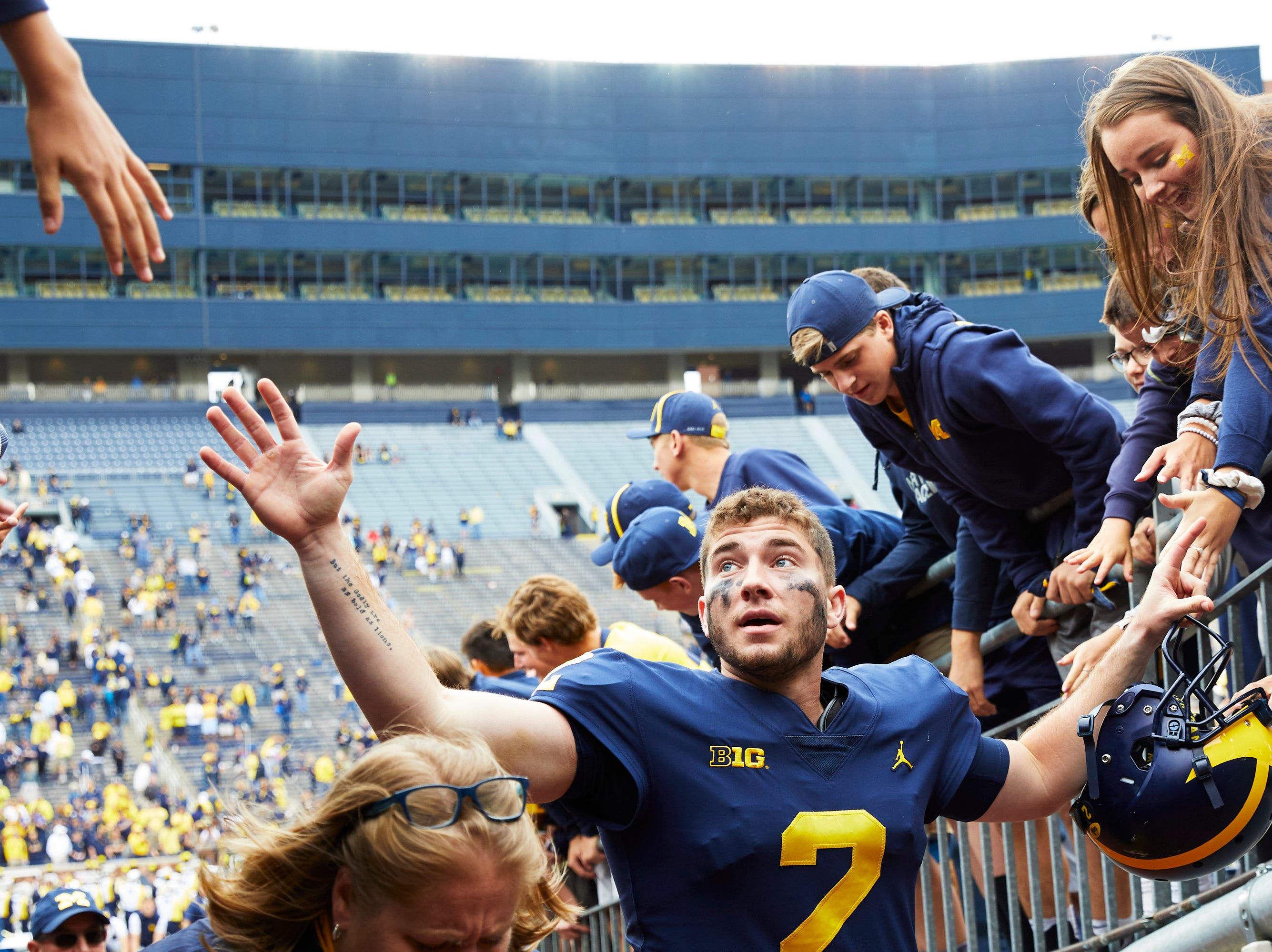 Sep 8, 2018; Ann Arbor, MI, USA; Michigan Wolverines quarterback Shea Patterson (2) meets with fans after the game against the Western Michigan Broncos at Michigan Stadium. Mandatory Credit: Rick Osentoski-USA TODAY Sports