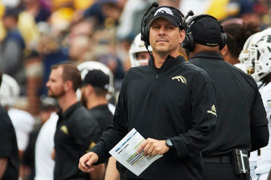Sep 8, 2018; Ann Arbor, MI, USA; Western Michigan Broncos head coach Tim Lester on the sideline in the first half against the Michigan Wolverines at Michigan Stadium. Mandatory Credit: Rick Osentoski-USA TODAY Sports