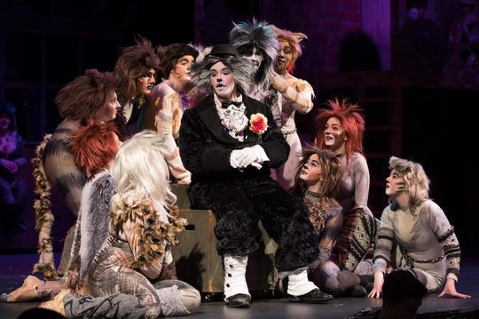 "Parker Howland (center) performs as Bustopher Jones in Johnson City High School's Production of ""Cats"" in March 2017."