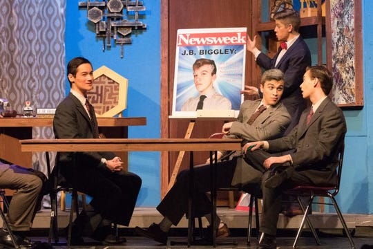 "Parker Howland (far right) performs in Johnson City High School's Production of ""How to Succeed in Business Without Really Trying"" in March 2018."