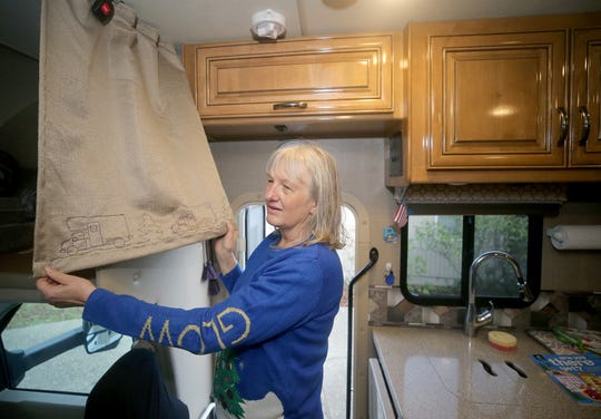 Barb Peterson is a quilter and had a hand in making the curtains for her RV.