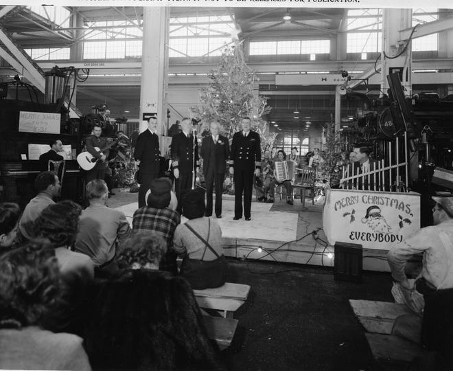 Dressed in everything from work clothes to fur coats, employees and friends attend the Christmas program hosted by PSNS's Shop 31 in the 7-acre Building 431. Entertainment included music accompanied by piano, guitar, violin, accordion and chimes.To see more photos from the Kitsap County Historical Society Museum archives, visit facebook.com/kitsaphistory, kitsapmuseum.org, or stop by the museum at 280 Fourth St. in Bremerton. Call 360-479-6226 for information