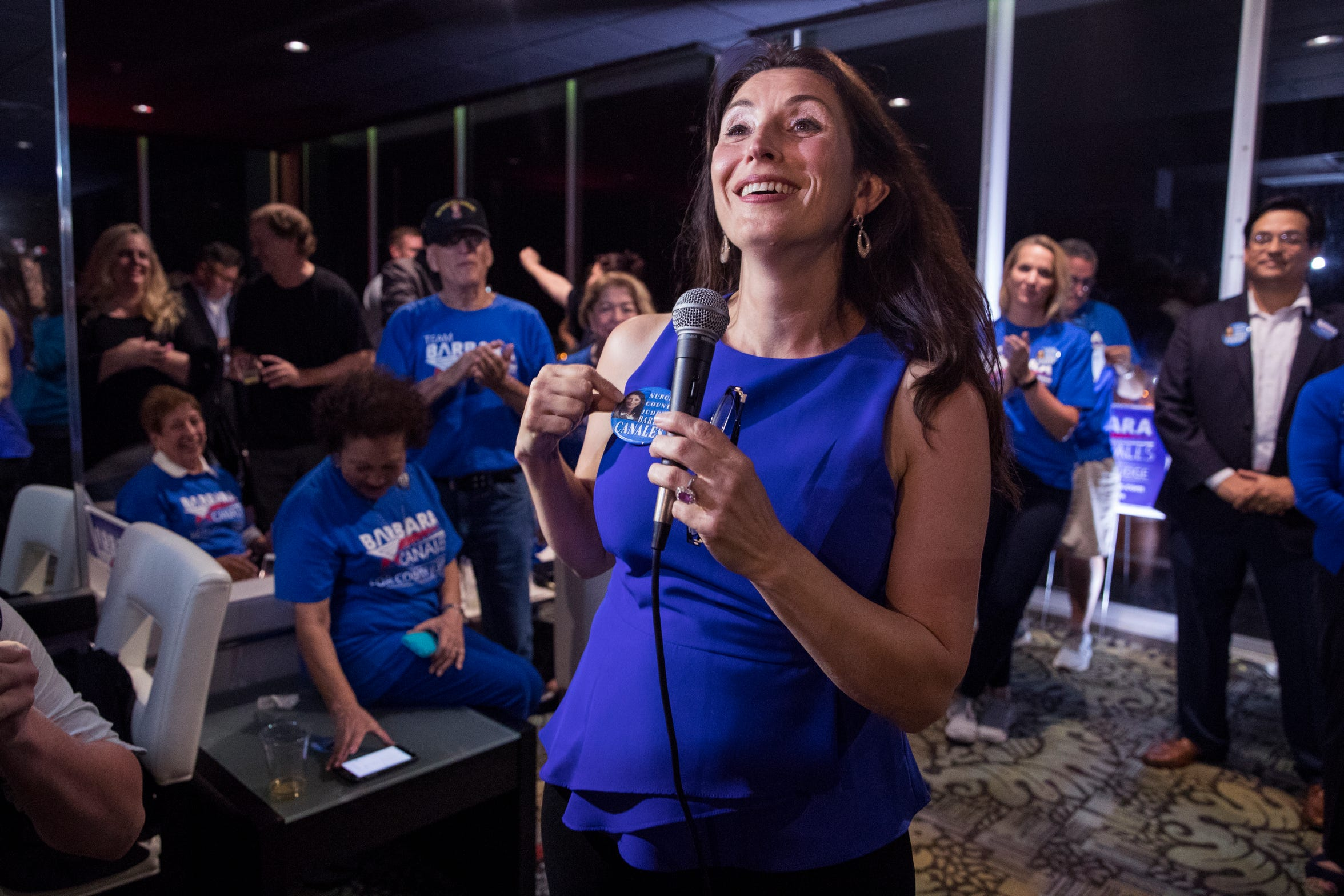 Nueces County Judge-elect Barbara Canales gives her acceptance speech during her watch party at the Best Western on Tuesday, November 6, 2018.