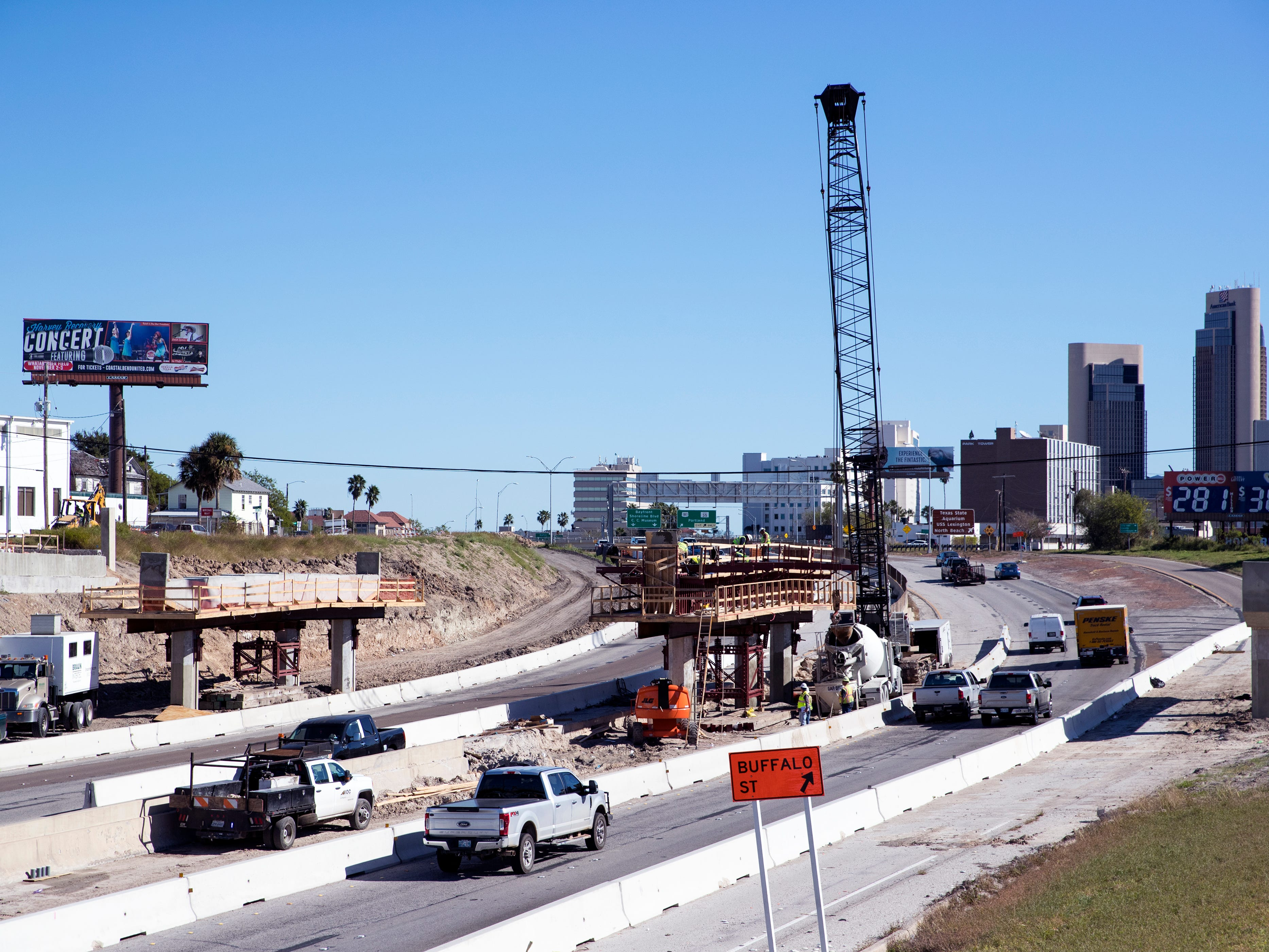 Construction crews work on the new Harbor Bridge project on Interstate-37 on Friday, December 21, 2018.