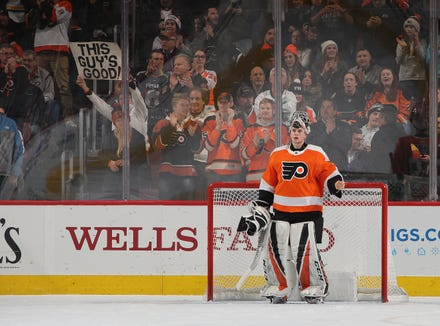 Carter Hart has a .944 save percentage in his first two NHL games.