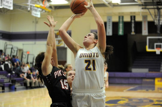 Unioto's Jocie Fisher recorder her 1,000th point in a win over Westfall on Saturday.