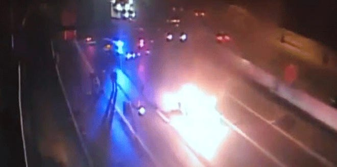 A car on fire shut down I-75 southbound on Friday morning.