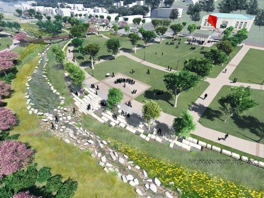 Another rendering of the green space when the Lick Run Greenway project is finished