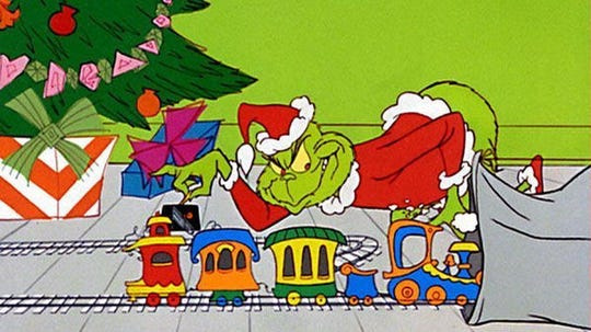 "The Grinch shows his mean side in ""Dr. Seuss' How the Grinch Stole Christmas."""