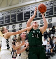 Badin forward Emma Broermann scored her 1,000th point during the Rams' game against Lakota East, Thursday, Dec. 20, 2018.