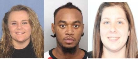"""Jordyn Stemmerding, 19, (left); Lemichael Johnson, 22; and Avriana Johnson, 21 were charged for """"causing the death of Terrance Smith,"""" Cincinnati Police said in a news release issued Thursday evening."""