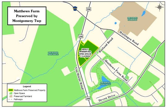 A map of the Matthews Farm, indicating its location directly east of Route 206 and north of Rutland Road.