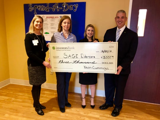 (From left to right) Pam Marusic, Spend-A-Day Director;Angela Sullivan, SAGE Executive Director;Janine Grieco, assistant vice president and branch manager, Investors Bank, Summit, and Charlie Gambino, vice president and district manager, Investors Bank.