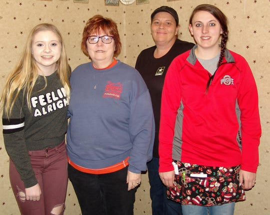 Peggy Sue Wilson, second from left, with employees  Ashlynn Boyce, Danielle McLarnan and Lacey Matthews. Boyce is Wilson's granddaughter and family have always been involved in the soon to close restaurant.