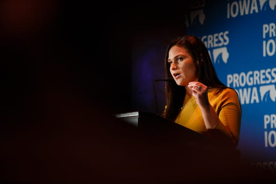 U.S. Representative-elect Abby Finkenauer speaks during Progress Iowa's Holiday Party on Thursday, Dec. 20, 2018, in Des Moines.