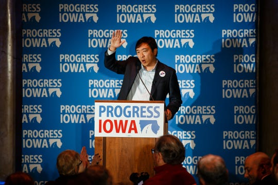 Entrepreneur Andrew Yang speaks during Progress Iowa's Holiday Party on Thursday, Dec. 20, 2018, in Des Moines.
