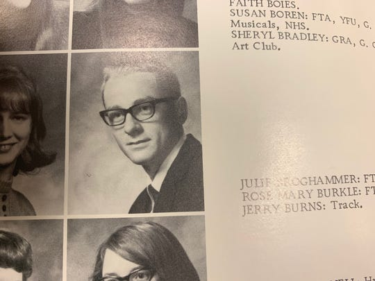 Jerry Burns is seen in a West Delaware High School yearbook image.