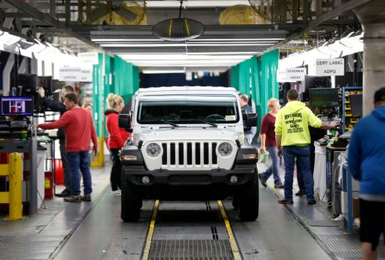 A Jeep Wrangler comes off the final production line at the Toledo North Assembly Plant in Toledo, Ohio on Friday, November 16, 2018.