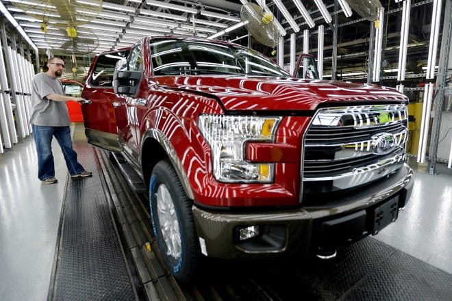 A 2015 aluminum-alloy body Ford F-150 truck during inspection at the company's Kansas City Assembly Plant in March 2015.