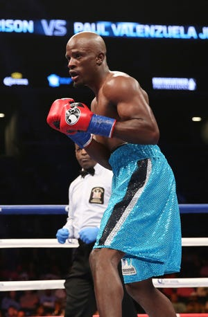 Tony Harrison in action against Paul Valenzuela Jr. during their bout at Barclays Center, Saturday, Oct. 14, 2017, in New York.