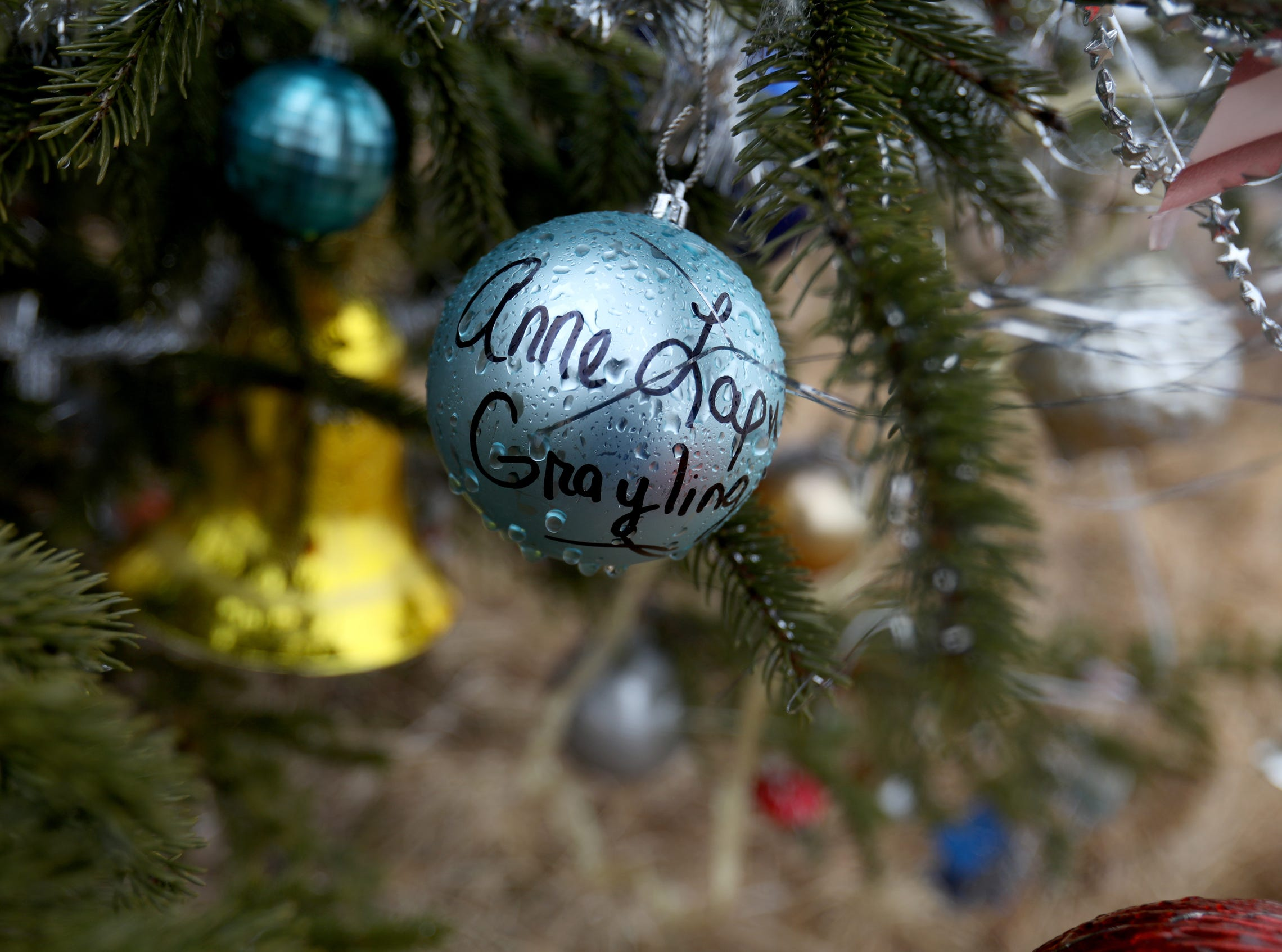 One of the many Christmas ornaments left behind by visitors.