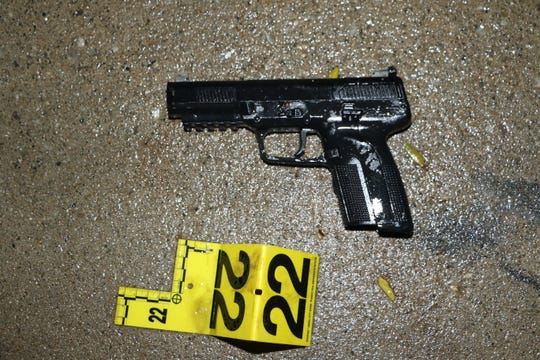 According to the reports, while on the run, Theoddeus  Gray turned and fired one shot, hitting the dog, before his FN 5.7 handgun jammed with15 live rounds still in its magazine.
