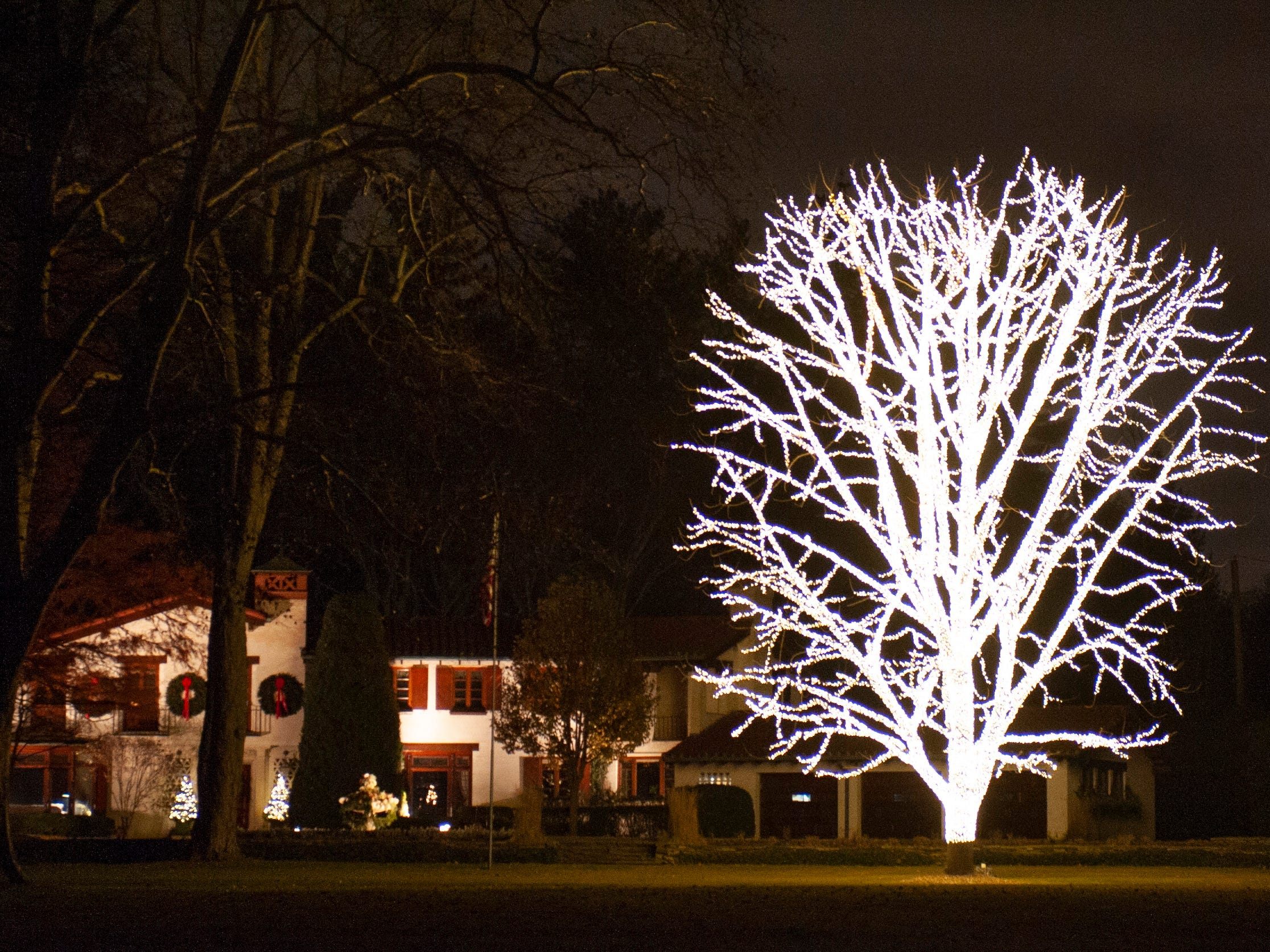 An enormous tree, completely lit up for the holidays, stands out in front of a grand mansion along Lake Shore Drive in Grosse Pointe Shores on Tuesday December 17, 2018. (John T. Greilick, The Detroit News)