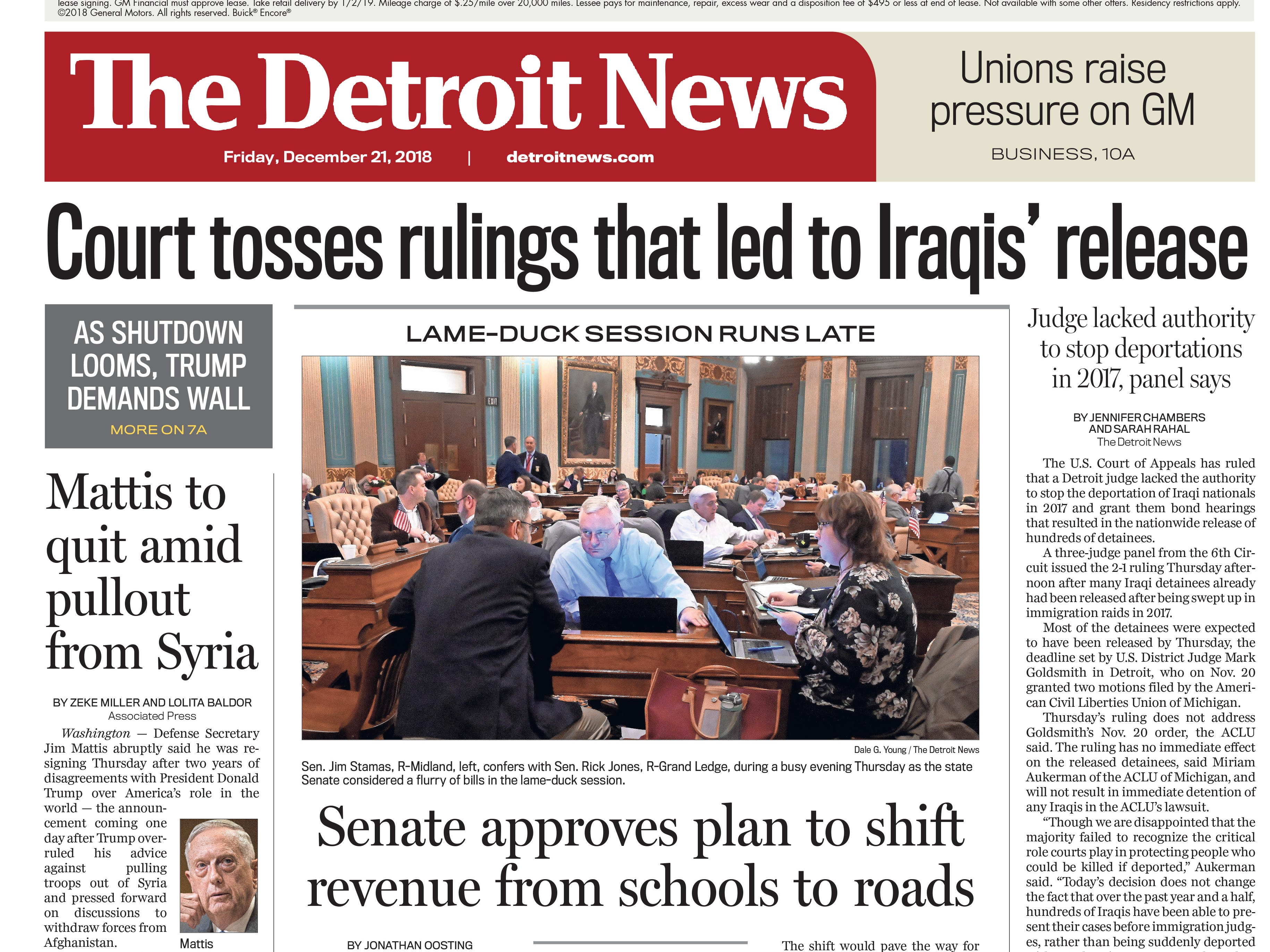 The front page of the Detroit News on Friday, December 21, 2018.