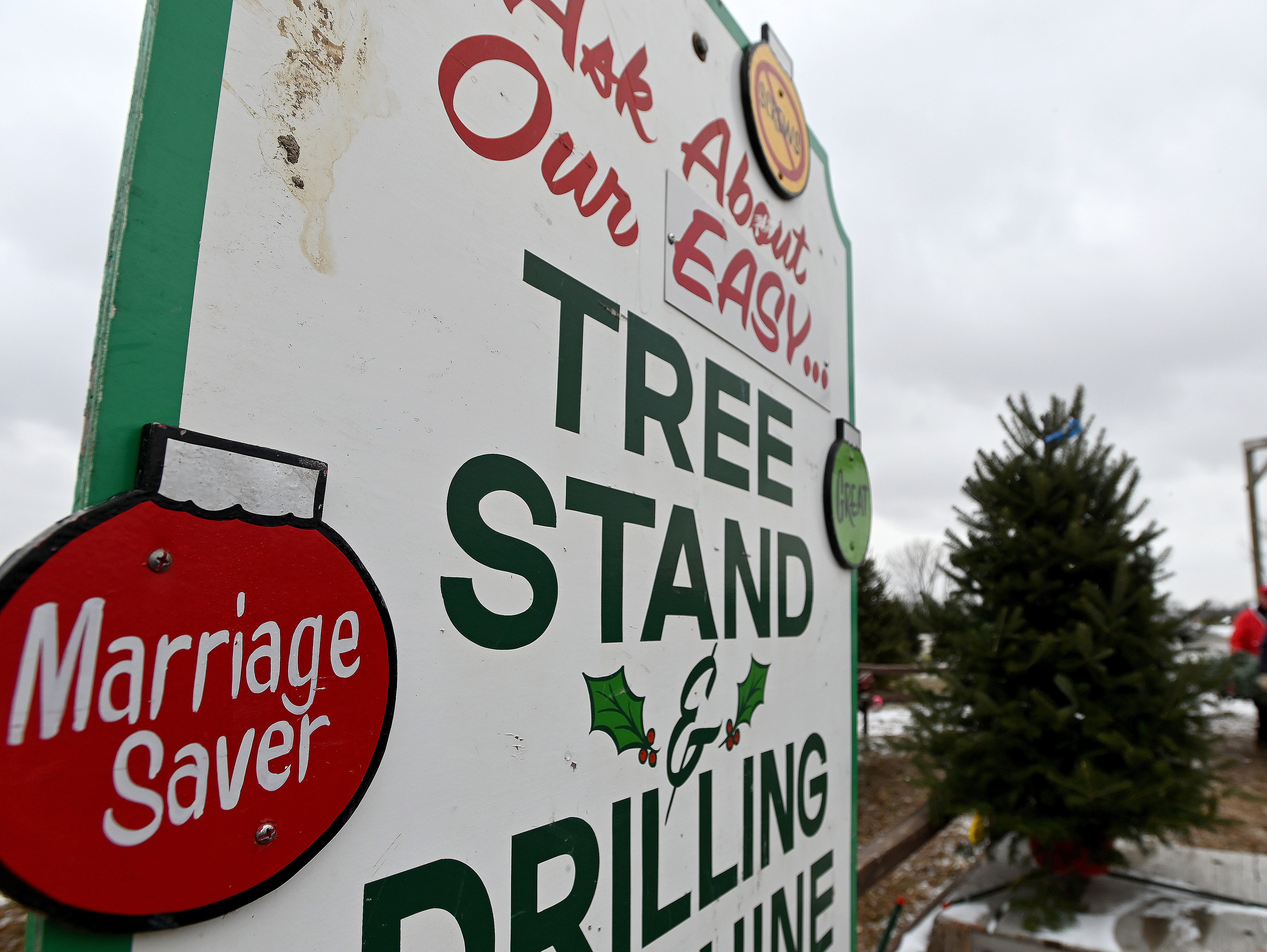 """Marriage Saver"" says the sign touting a special tree stand available.  Each tree is trimmed and squared, pre-drilled for a stand, vibrated to remove any dead needles or debris, and then wrapped for transport atop the family cruiser."