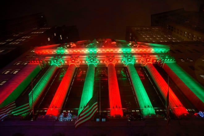 Exterior of the New York Stock Exchange on Thursday evening, Dec. 20, 2018.