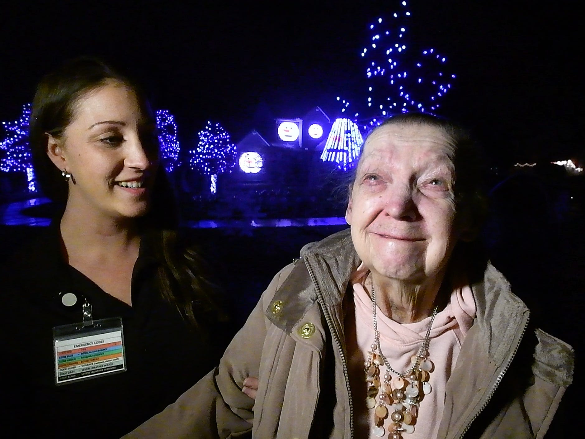 "Jackie Baker from Lourdes Senior Community, ""We were doing a Christmas lights tour, going around looking at lights and we found the jackpot, that's for sure.  A resident on the tour Joyce Park,  ""Oh, it is the most beautiful I have ever seen.  For years I have gone and seen lights and I have never seen any thing as beautiful as this.  It is done with love you can tell, a lot of work, but we all have enjoyed it."""
