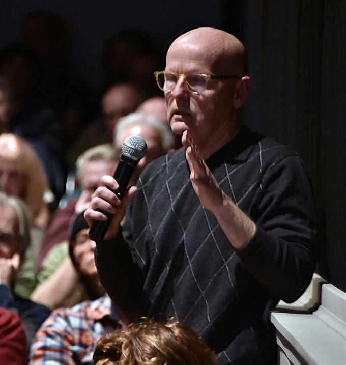 Rick Andrews addresses a Dec. 11 community forum at The Bay, the only movie house in Leelanau County. Andrews will head a nonprofit group beginning Jan. 1, 2019 to keep the iconic venue open.