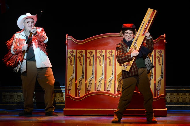 """Chris Carsten as Jean Shepherd and Colton Maurer as Ralphie in """"A Christmas Story, The Musical"""" at the Fox Theatre."""